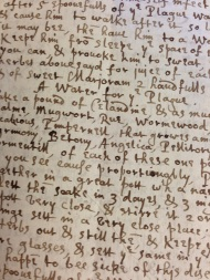 A recipe for Plague Water from 1649